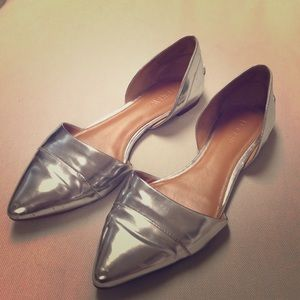 J.Crew silver pointed flats